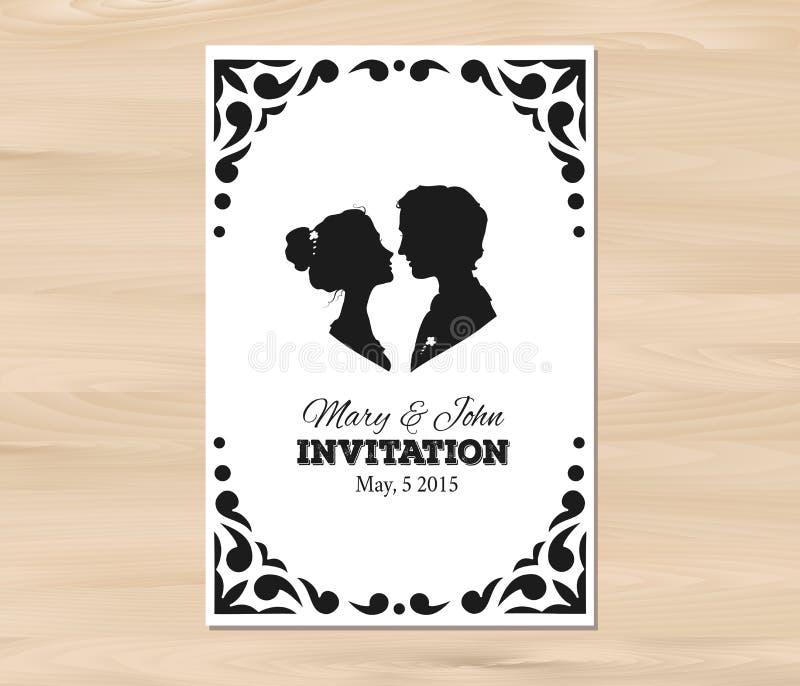 Convite do casamento do vetor com silhuetas do perfil ilustração do vetor