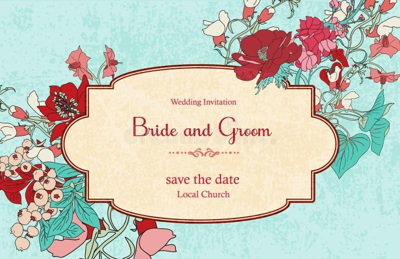 Convite do casamento do vintage imagem de stock royalty free