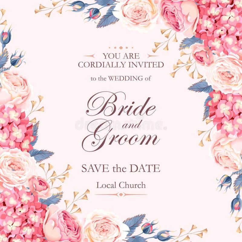 Convite do casamento do vintage ilustração stock