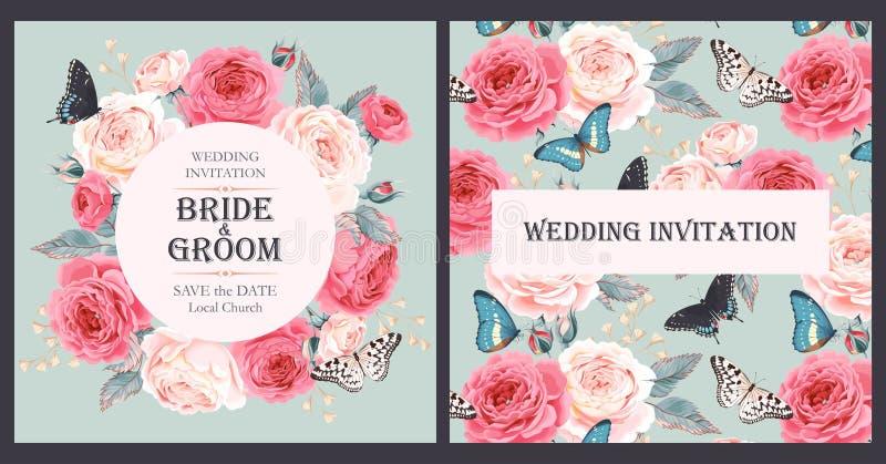 Convite do casamento do vintage ilustração royalty free