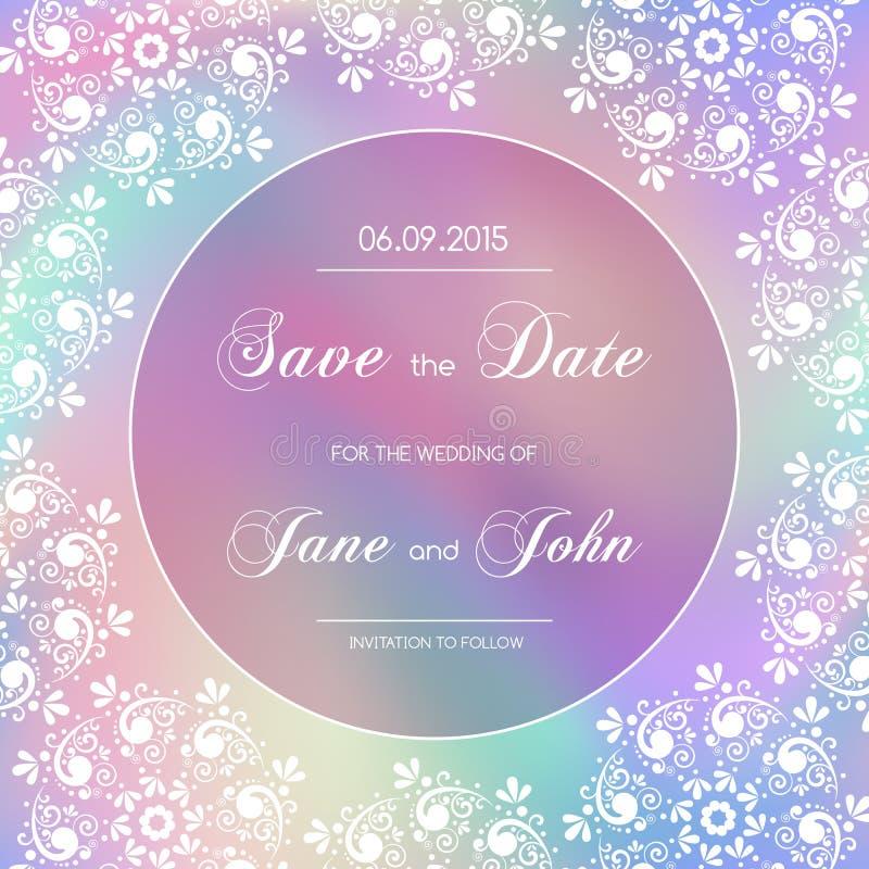Convite do casamento do vintage com beira do laço ilustração stock