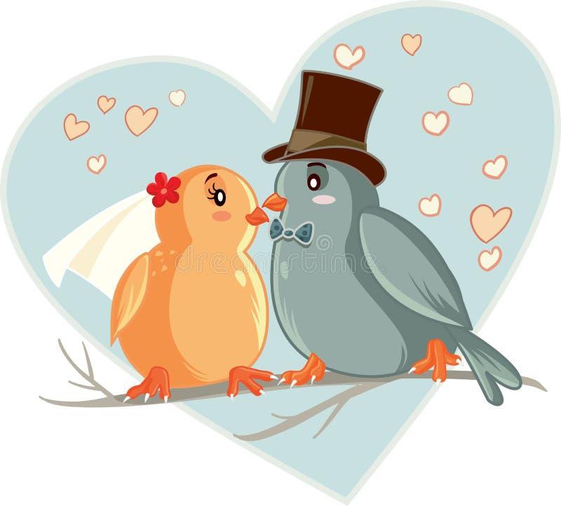 Convite do casamento dos desenhos animados do vetor dos periquitos ilustração royalty free