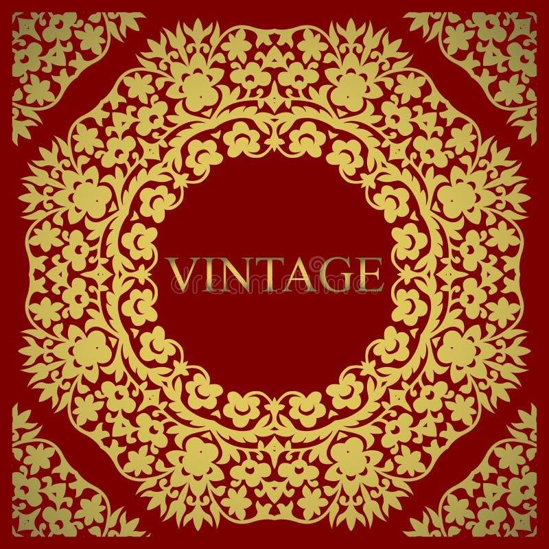 Convite do casamento Elementos decorativos do vintage Flor decorativa ilustração do vetor