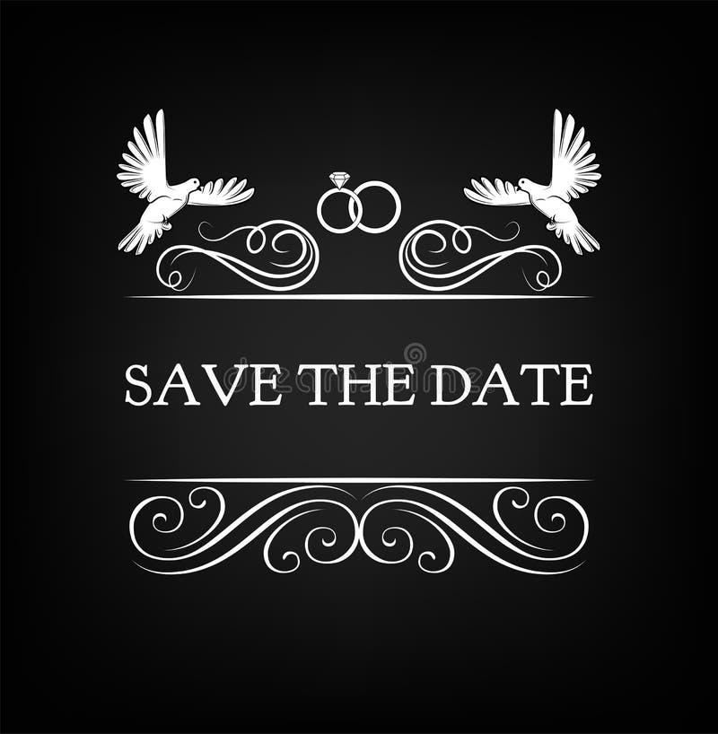 Convite do casamento Excepto a tâmara pombo, pomba, anel Ilustração do vetor ilustração royalty free