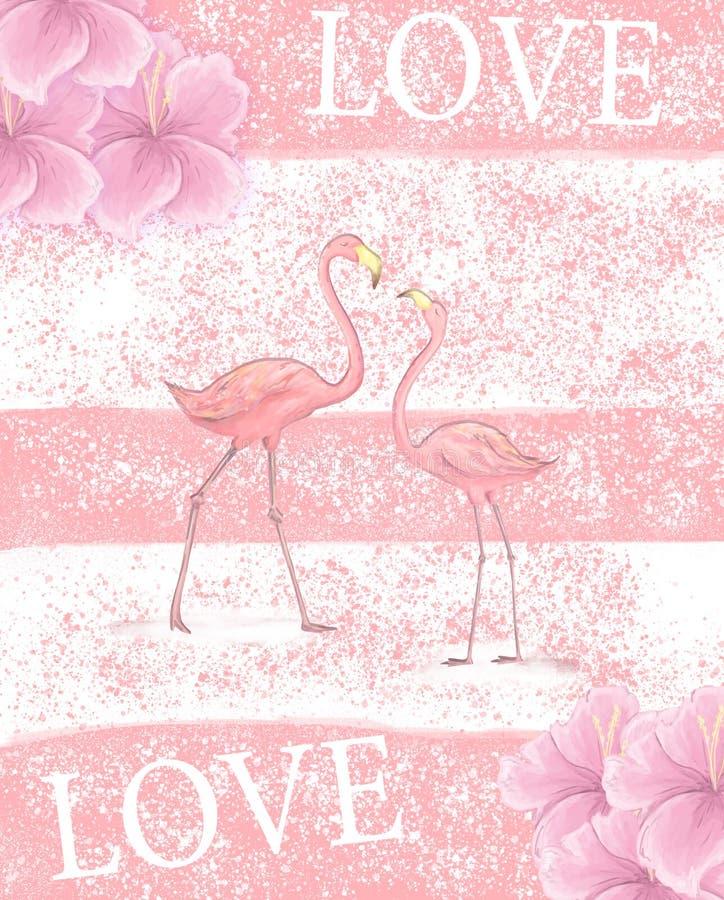 Convite do casamento do flamingo, cartão com flamingos cor-de-rosa Ilustração bonita da aquarela de pássaros do amor fotografia de stock