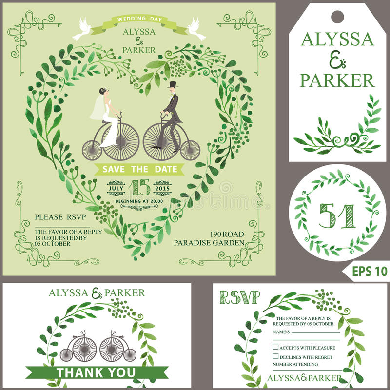 Convite do casamento O verde ramifica coração, noiva, noivo, bicyc retro