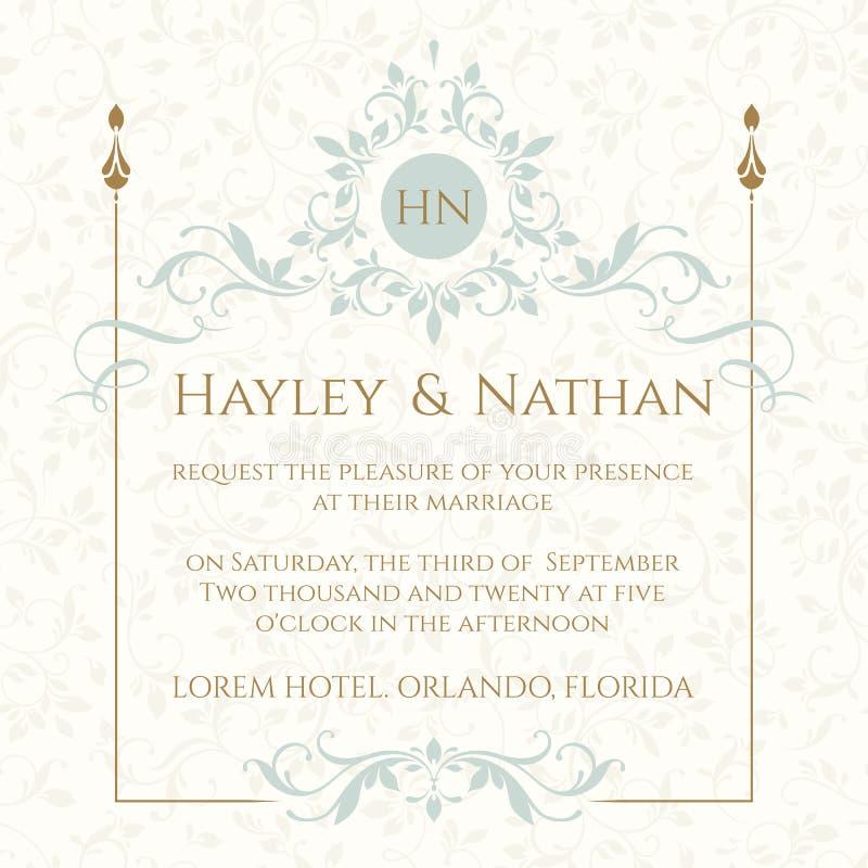 Convite do casamento Quadro e monograma florais decorativos ilustração royalty free