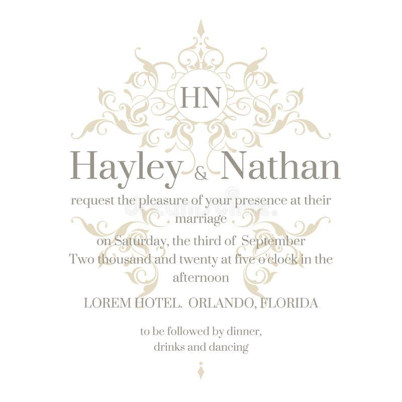 Convite do casamento Quadro e monograma florais decorativos ilustração stock