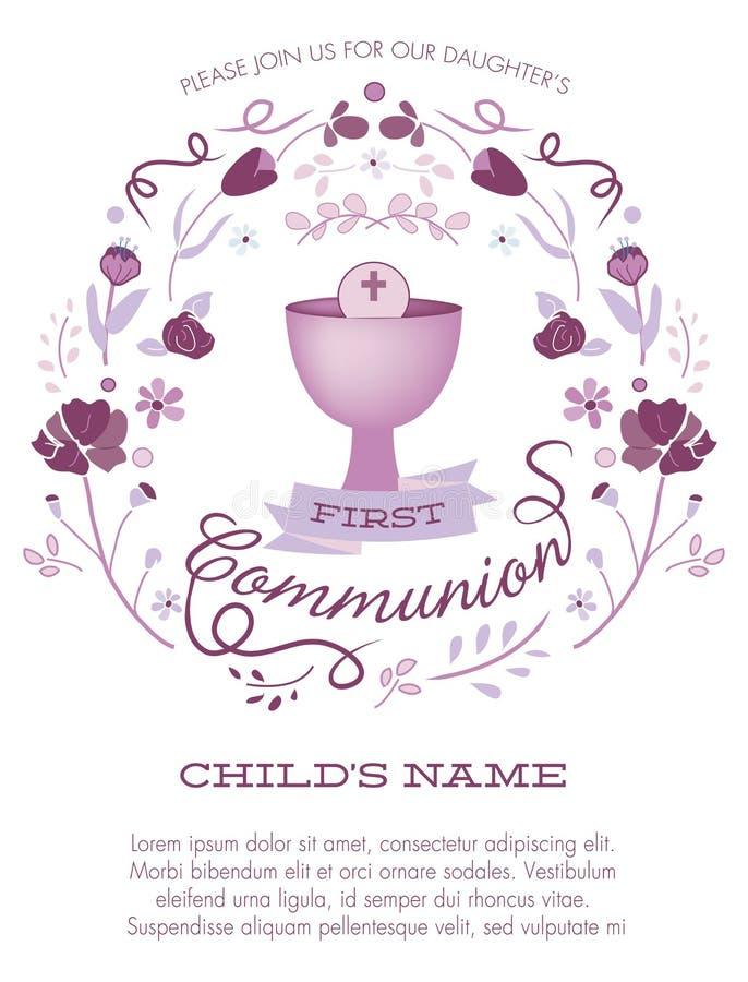 Convite do comunhão santamente da menina roxa primeiro com cálice e flores ilustração stock