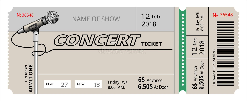 Convite do concerto do bilhete mostra, vale, bilhete entrada da entrada da admissão da passagem ilustração do vetor
