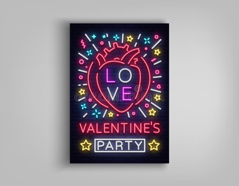 Convite do dia de Valentim a um cartão do partido Sinal de néon, molde do projeto, propaganda vívida da celebração do aniversário ilustração royalty free