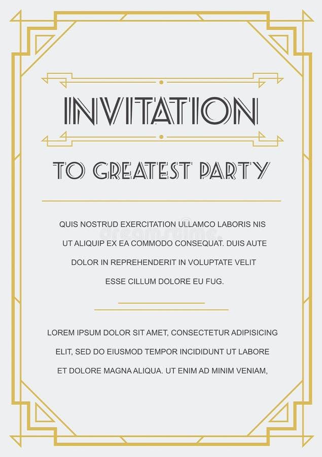 Convite do estilo de Gatsby ilustração stock