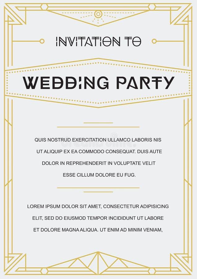 Convite do estilo de Gatsby ilustração do vetor