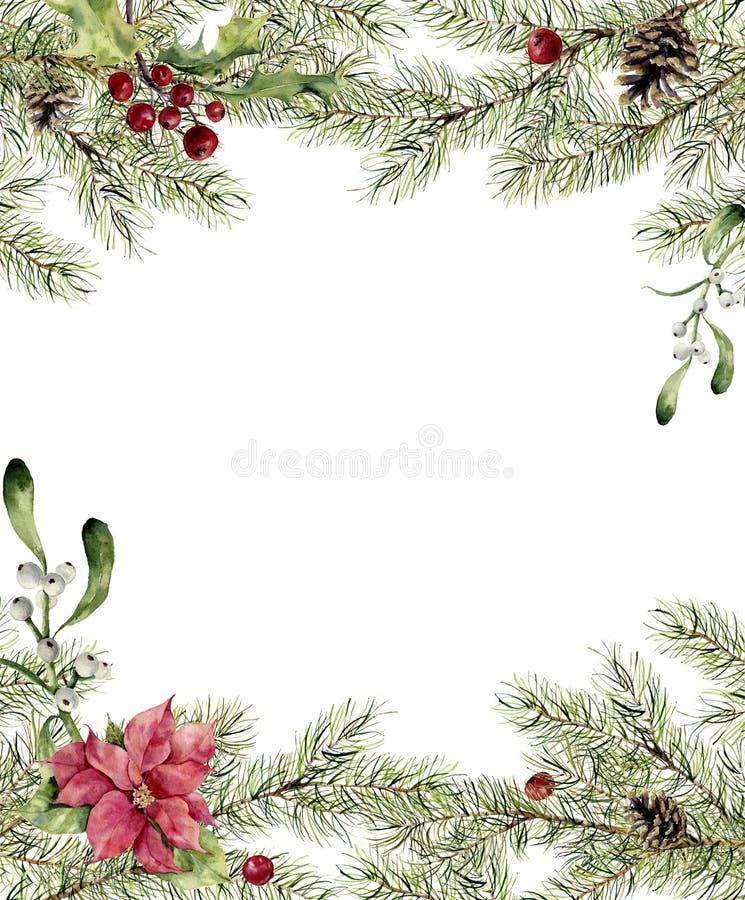 Convite do Natal da aquarela Ramo do abeto com azevinho, visco e poinsétia Beira da árvore do ano novo com a decoração para ilustração stock