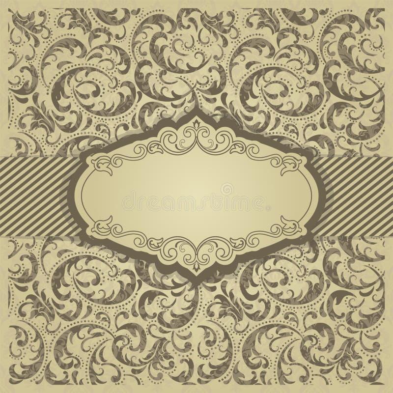 Convite do ouro com quadro O ouro carda moldes para economias a data, casamento convida, cartões, cartão ilustração stock