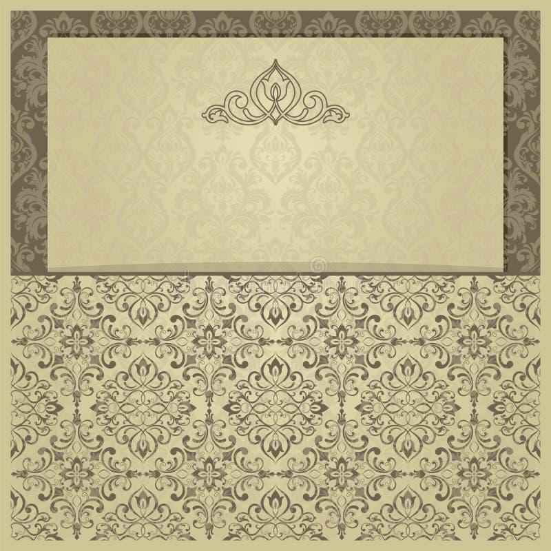 Convite do ouro com quadro O ouro carda moldes para economias a data, casamento convida, cart?es, cart?o ilustração royalty free
