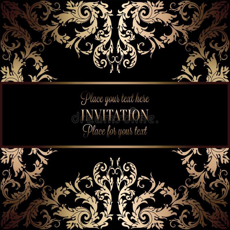 Convite do ouro do vintage ou cartão de casamento no fundo preto, divisor, encabeçamento, quadro laçado decorativo do vetor ilustração do vetor