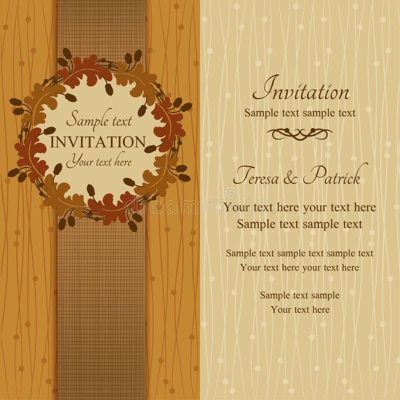 Convite do outono ou do verão, marrom e bege ilustração royalty free