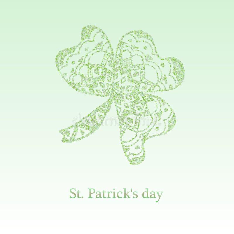 Convite do partido do bar do dia de St Patrick feliz Trevo de brilho de quatro folhas Molde tipogr?fico para o texto ilustração do vetor