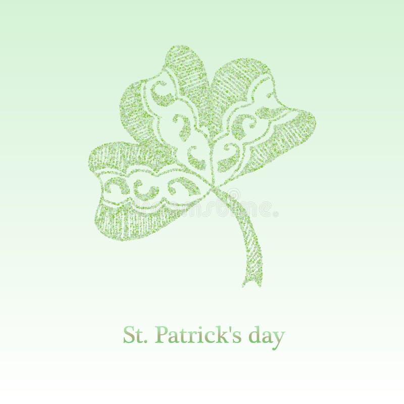 Convite do partido do bar do dia de St Patrick feliz Trevo de brilho de quatro folhas Molde tipogr?fico para o texto ilustração royalty free