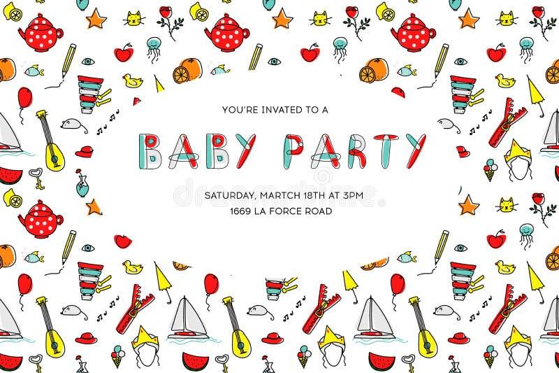 Convite do partido do bebê dos desenhos animados do vetor Molde do teste padrão com desenhos animados das crianças ilustração stock