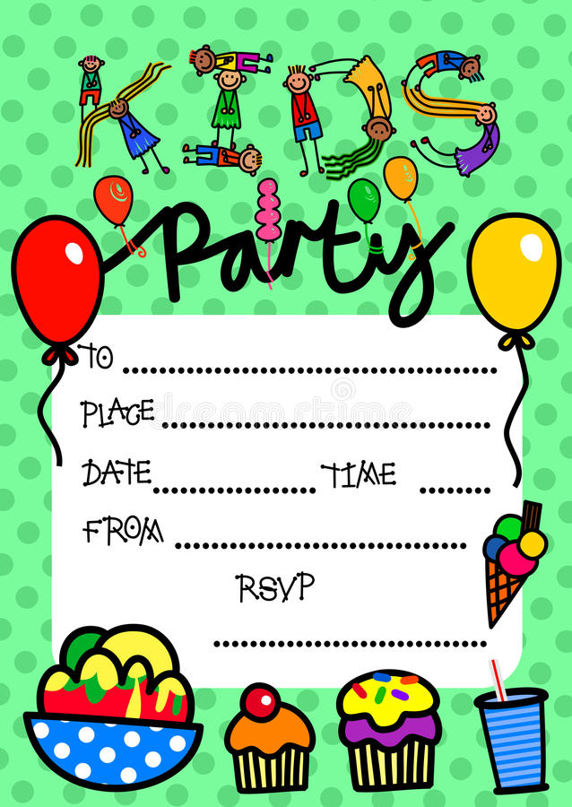 Convite do partido das crianças ilustração do vetor
