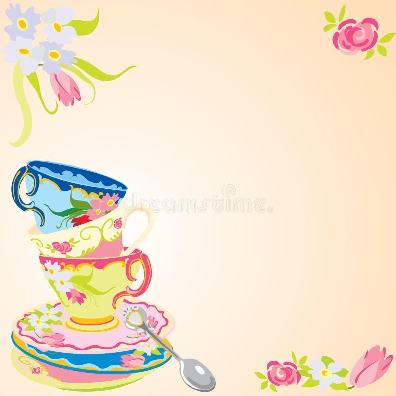 Famosos Convite do partido de chá. ilustração do vetor. Ilustração de  HK29