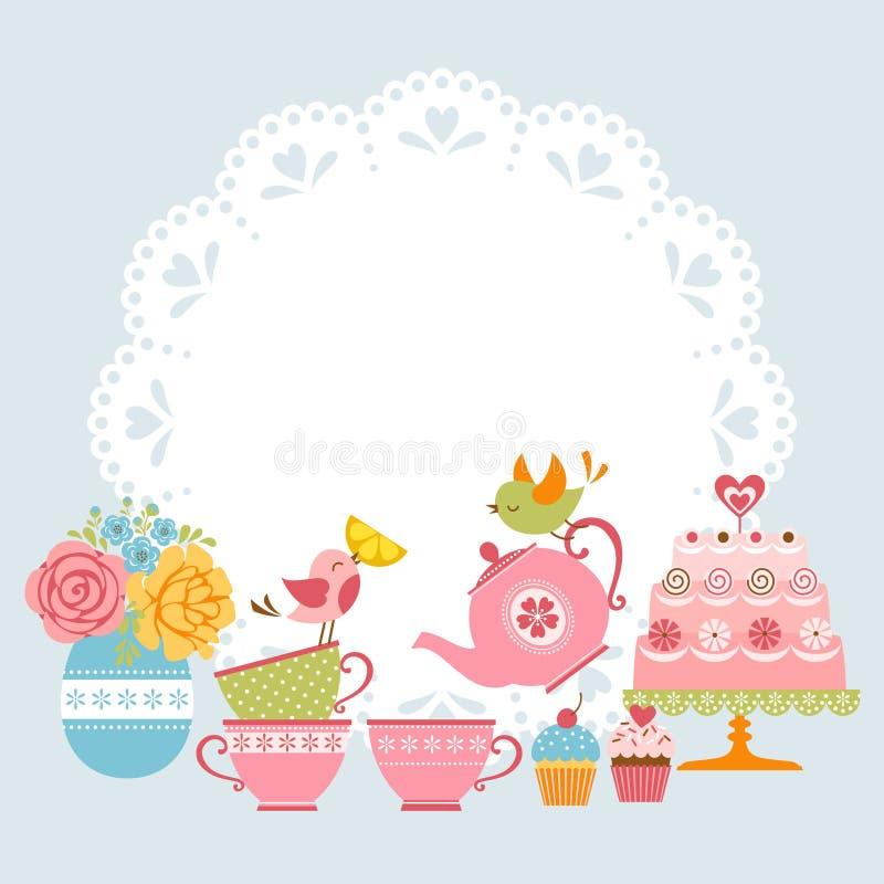 Convite do partido de chá ilustração do vetor