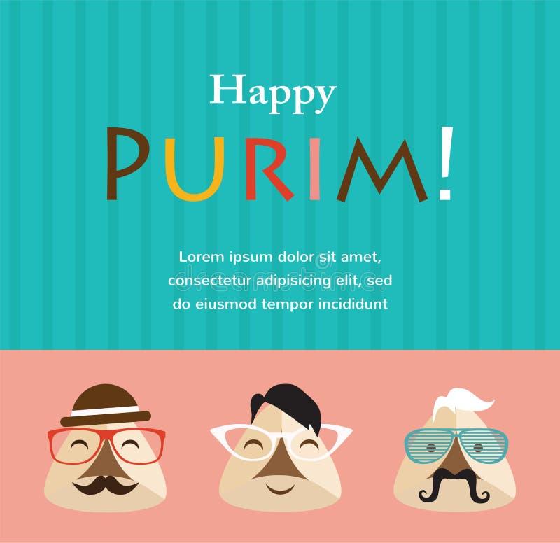 Convite do partido de Purim com as orelhas de Haman do moderno ilustração royalty free