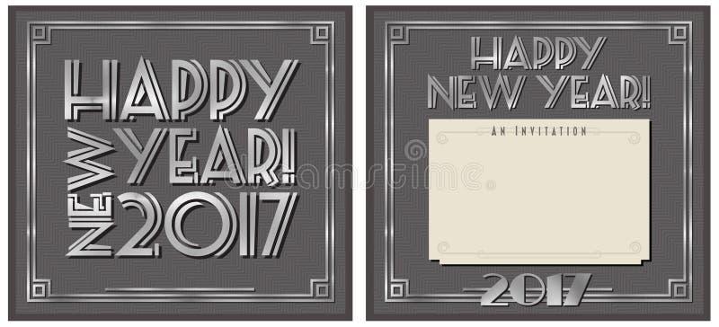 Convite 2017 do partido do ano novo ilustração do vetor