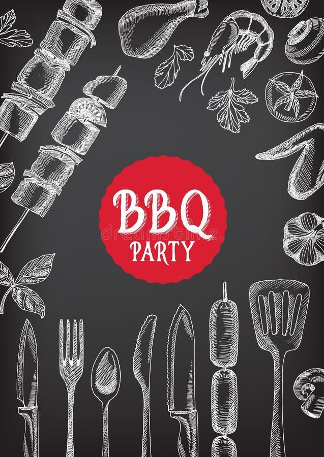 Convite do partido do assado Projeto do menu do molde do BBQ Inseto do alimento ilustração do vetor