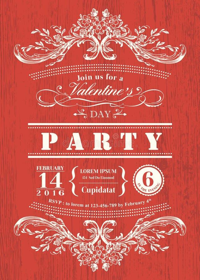 Convite do partido do cartão do dia de são valentim com quadro do vintage no fundo vermelho da placa ilustração royalty free