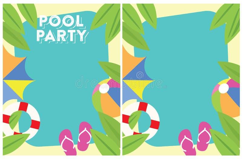 Convite do partido do verão da festa na piscina ilustração stock