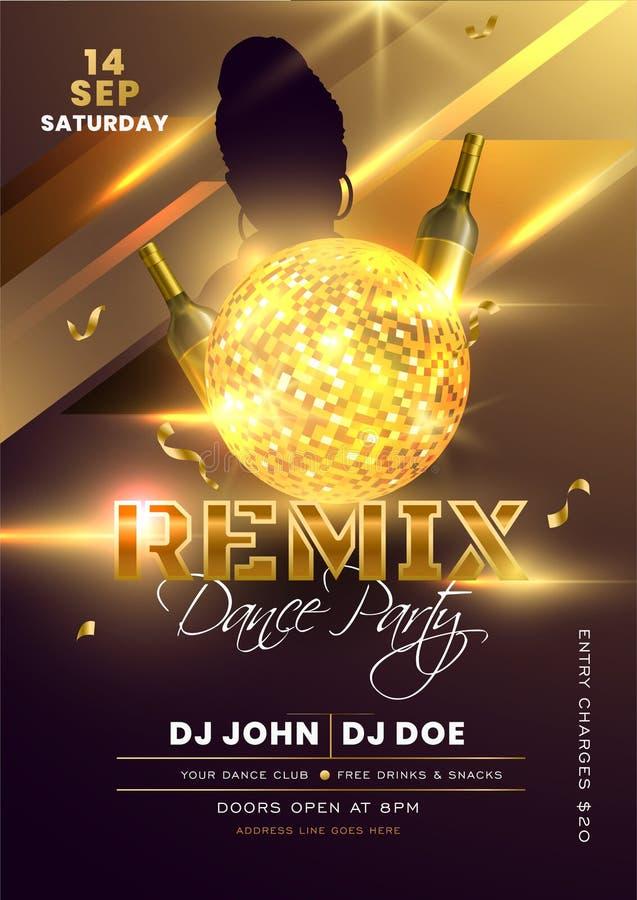 Convite do Partido Remix Dance, Design do Panfleto com Bola de Disco Dourada Shiny e Garrafas de Champanhe no Efeito das Luzes fotografia de stock royalty free