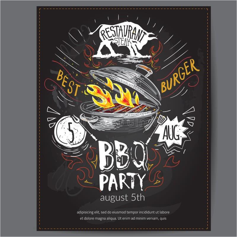 Convite do projeto do logotipo do vetor do fast food com rotulação ícone da placa do Hamburger, do hamburguer ou do menu, fundo d ilustração do vetor