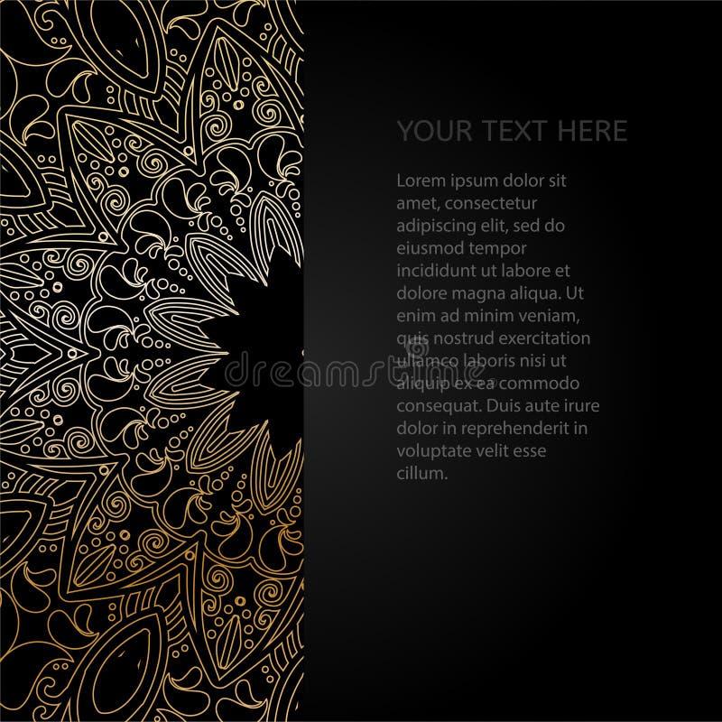 Convite do vintage com teste padrão do laço Cartão oriental preto do projeto ilustração royalty free