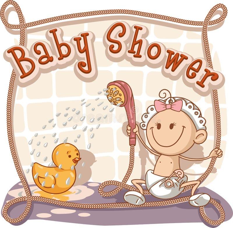 Convite dos desenhos animados da festa do bebê ilustração do vetor