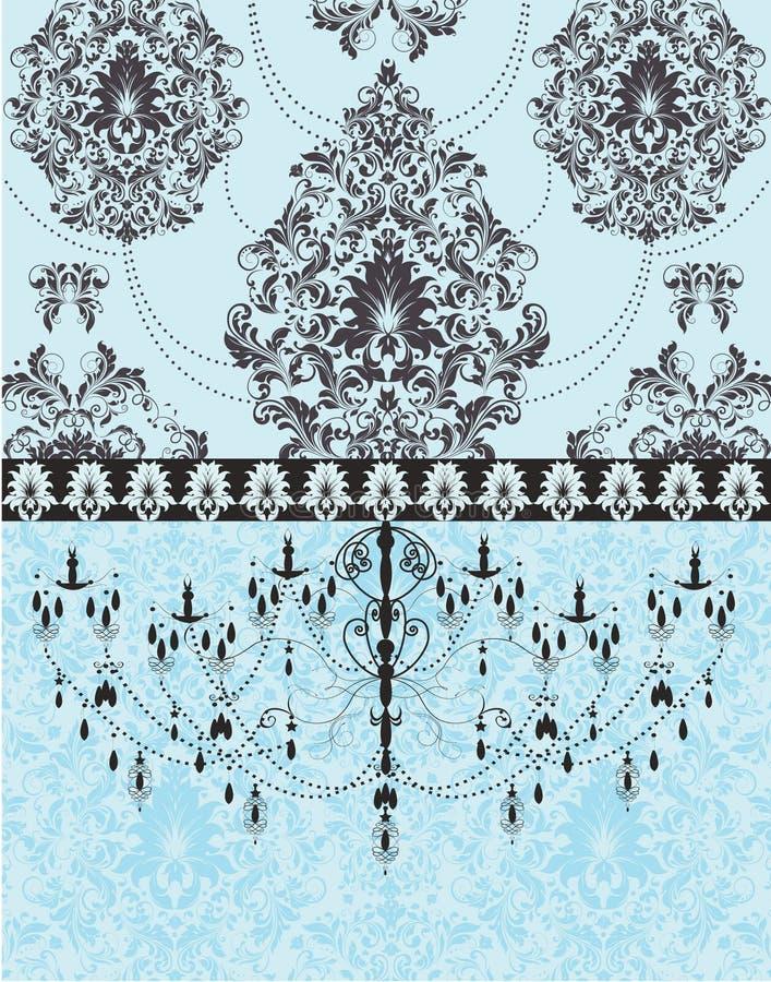 Convite elegante azul do casamento do damasco ilustração stock