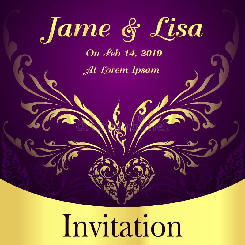 Convite elegante do casamento com ornamento dourados fotos de stock royalty free