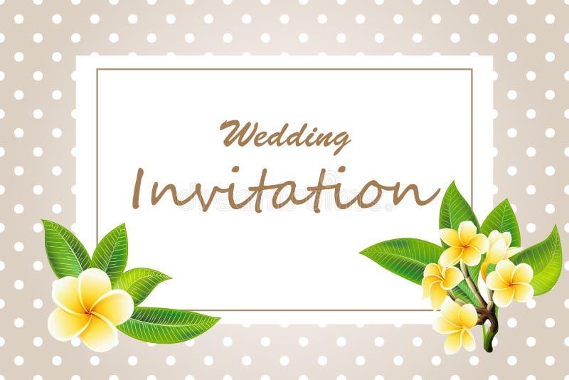 Convite elegante do casamento do quadro com as flores do plumeria no fundo do às bolinhas