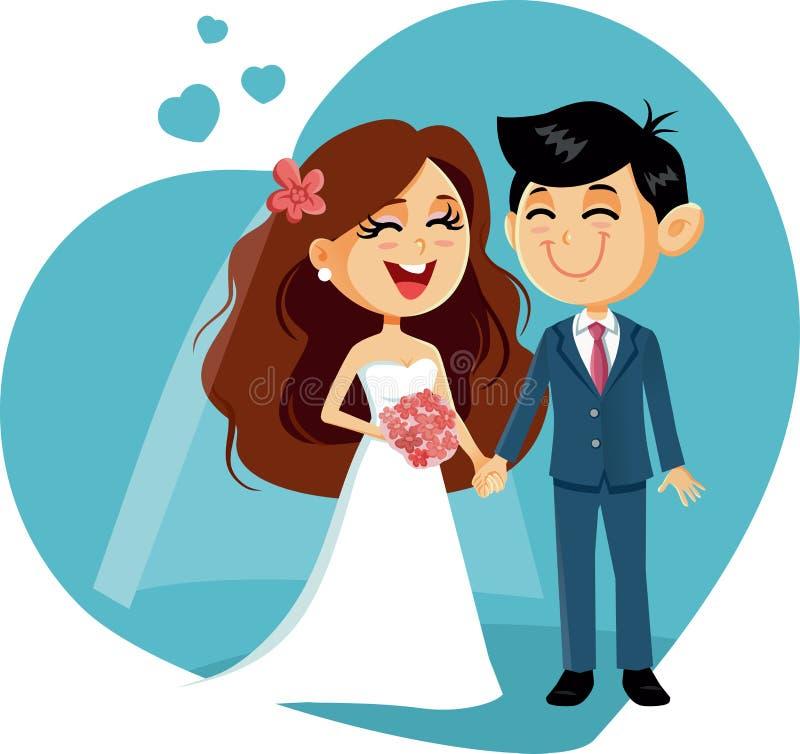 Convite feliz do vetor dos pares do casamento ilustração stock