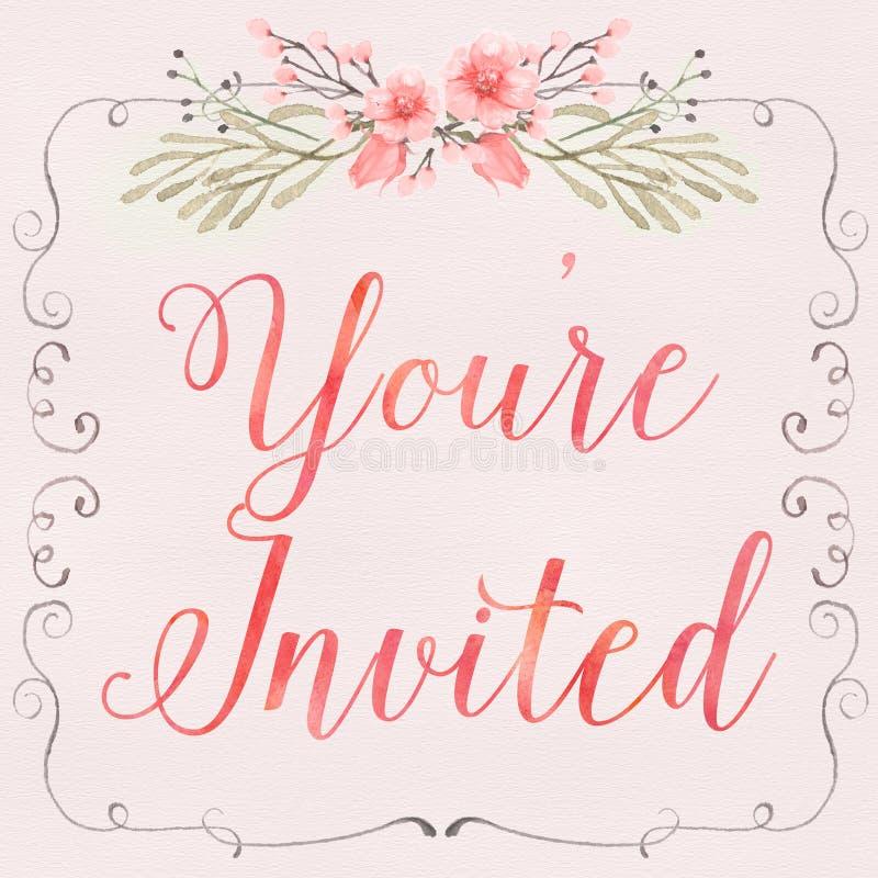 Convite floral ilustração royalty free