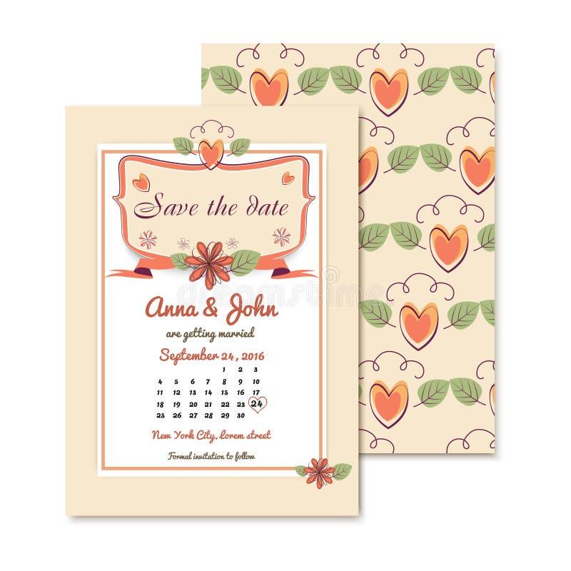 Convite floral do casamento etiqueta do vetor do vintage ilustração stock