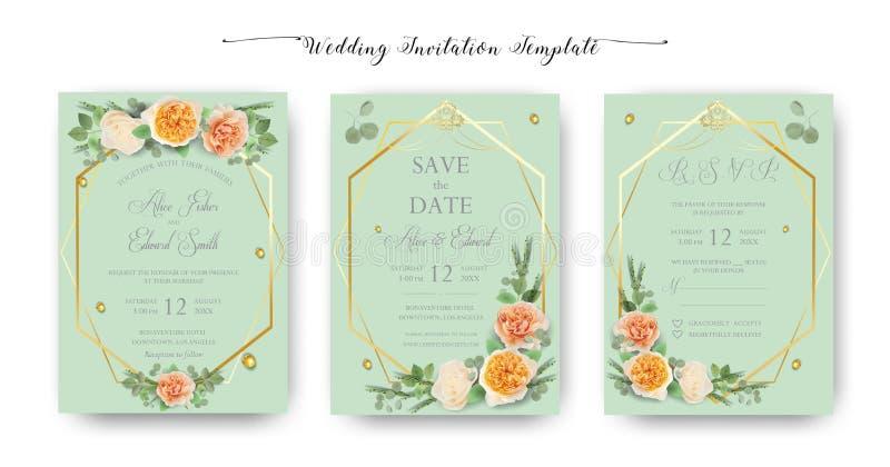 Convite floral do casamento, obrigado, rsvp, salvar a data, chuveiro nupcial, dia da união, grupo do molde dos cartões, aquarela ilustração royalty free