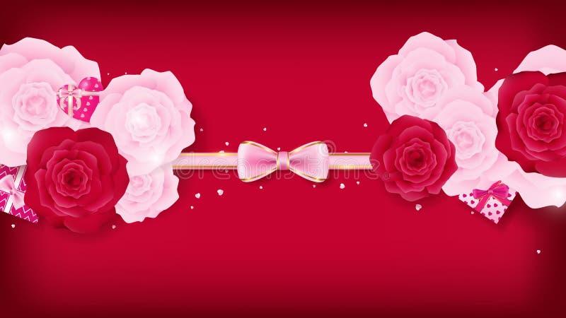 Convite floral do Valentim do isolado da vista superior que arredonda-se pelo convite floral do Valentim cor-de-rosa e vermelho d ilustração stock