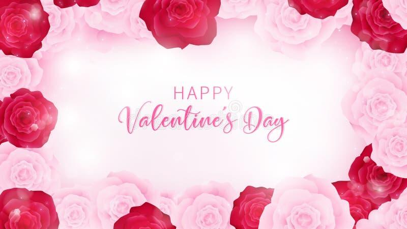 Convite floral do Valentim do isolado da vista superior que arredonda-se pelo ` floral do Valentim da opinião do invitationtop do ilustração do vetor