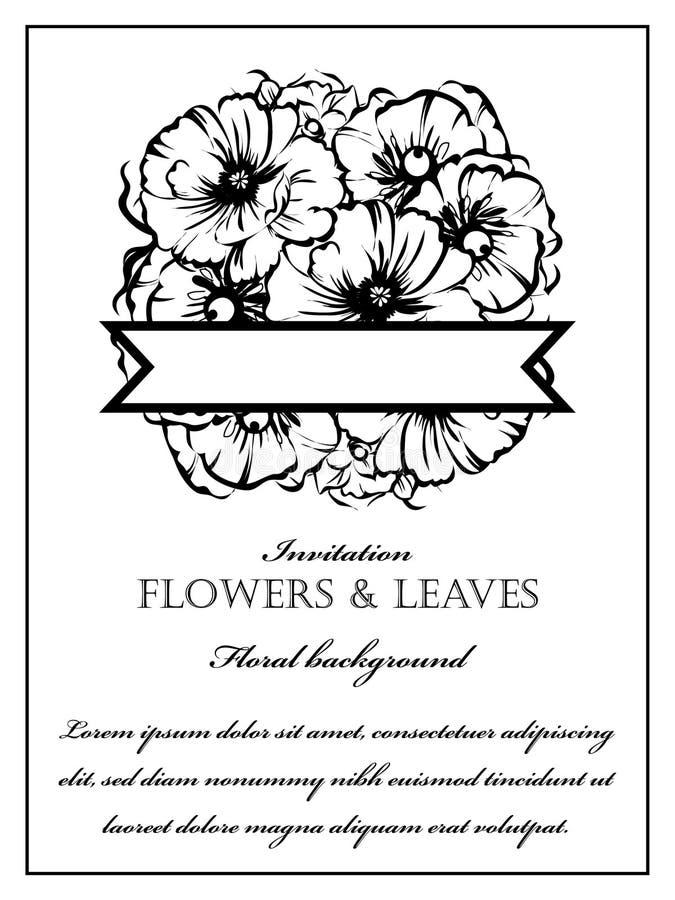 Convite floral romântico fotografia de stock