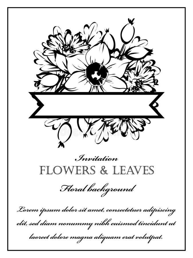 Convite floral romântico fotos de stock