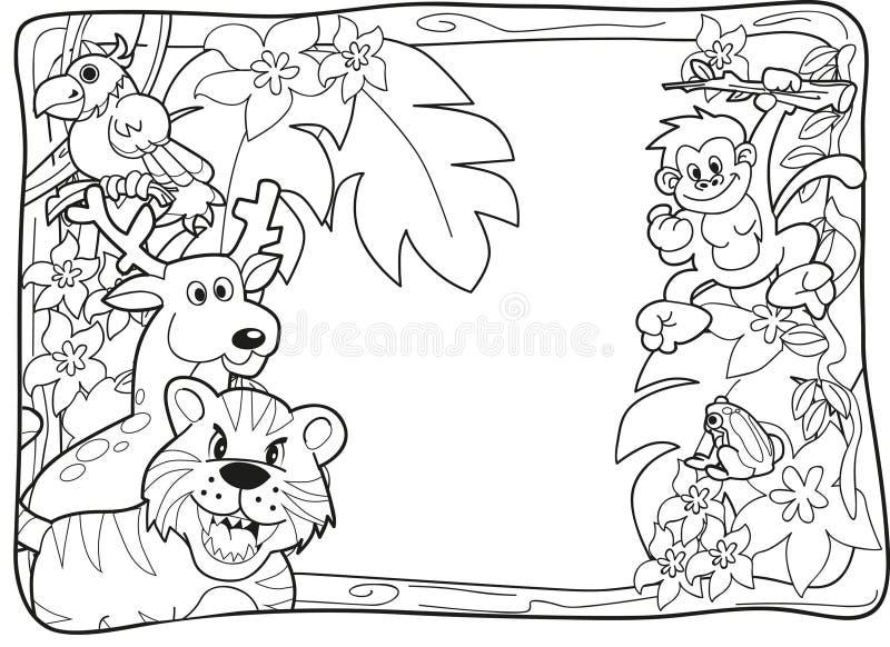 Convite Lineart da selva ilustração royalty free