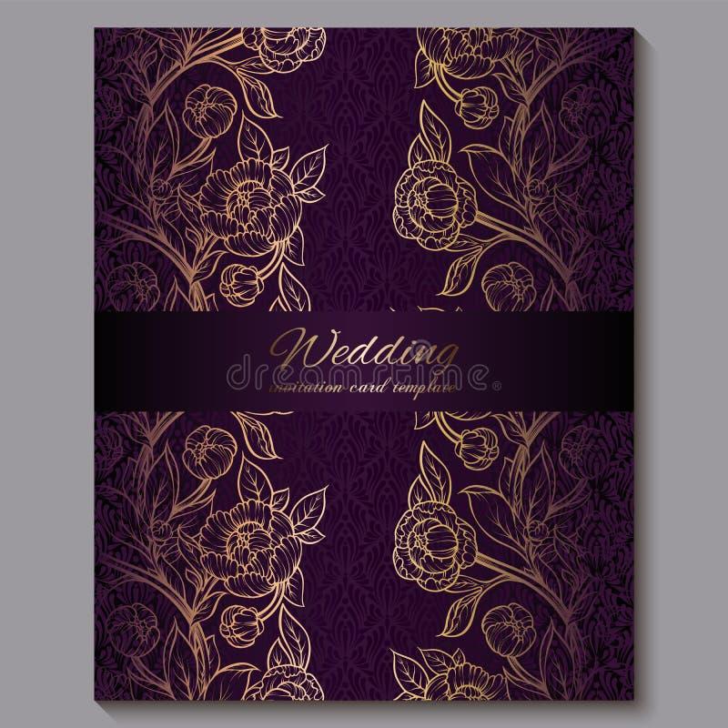 Convite luxuoso roxo real excelente do casamento, fundo floral do ouro com quadro e lugar para o texto, folha la?ado feita das ro ilustração royalty free